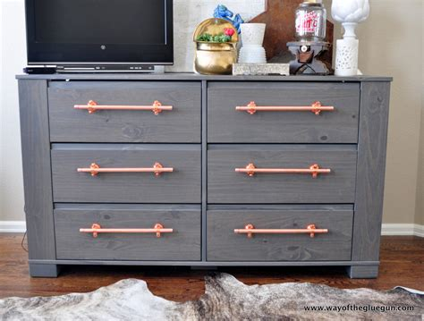 dresser drawer handles diy copper drawer pulls update an ikea dresser ikea hackers