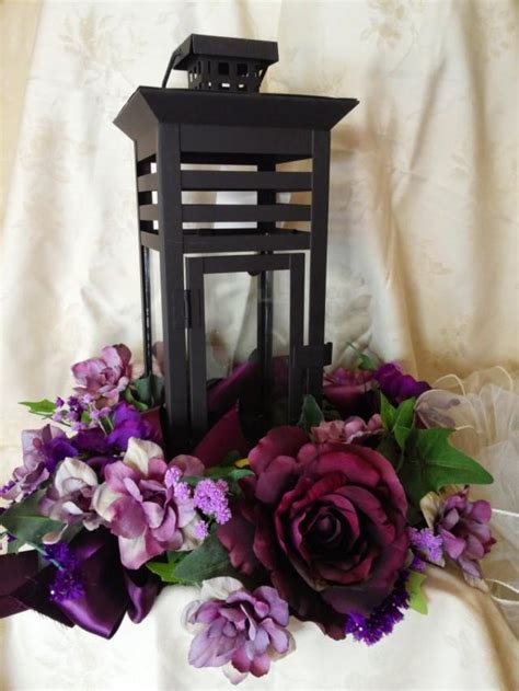 Centerpiece For Wedding Reception With Candle Lantern Ivy