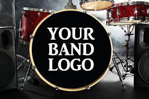 custom bass drum decal bass drum sticker custom band name With bass drum lettering