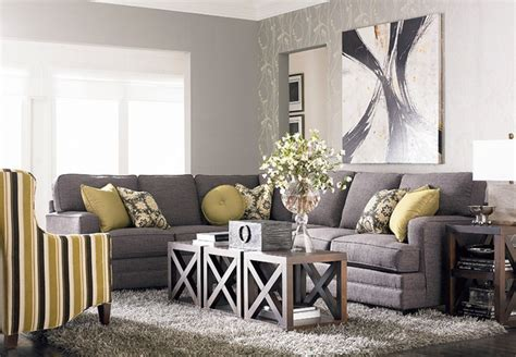Grey L Shaped Sofa With Modern Painting Using Minimalist Furniture Arrangement For Small Living