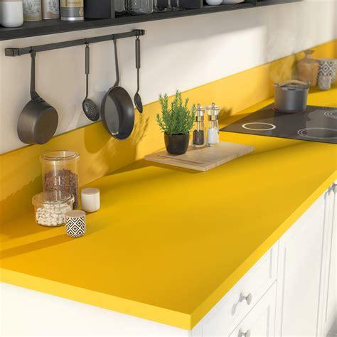 plan de travail cuisine stratifié plan de travail stratifié jaune serin mat l 300 x p 65 cm