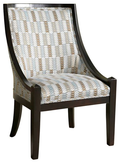 powell brown and blue patterned high back accent chair