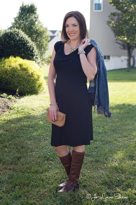 How to Wear Brown Boots with Black Pants and Dresses