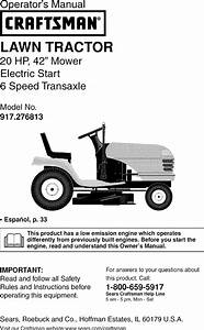 Craftsman 917276813 User Manual Tractor Manuals And Guides