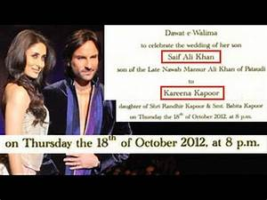 Saif Ali Khan & Kareena Kapoor's WEDDING CARD OUT - YouTube