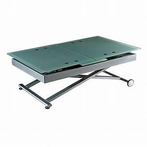 Table De Salon Modulable : table basse relevable avec rallonge verre ~ Teatrodelosmanantiales.com Idées de Décoration