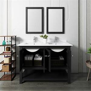 48, U0026quot, Traditional, Double, Sink, Bathroom, Vanity, With, Mirrors