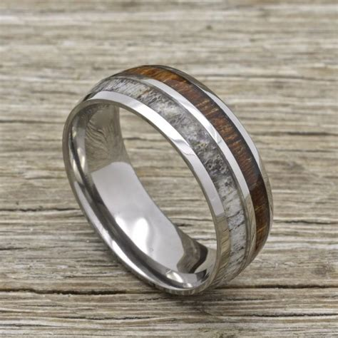 titanium deer antler ring with koa wood inlay 8mm comfort
