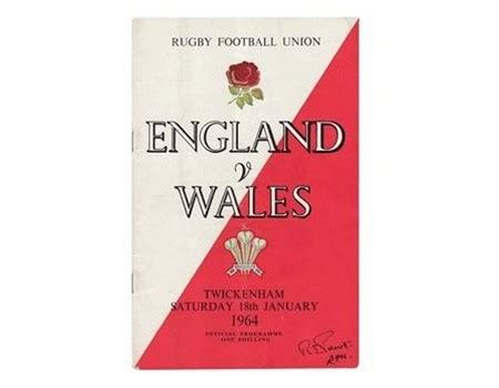 ENGLAND V WALES 1964 RUGBY PROGRAMME - England Rugby Union ...