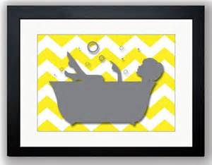 bathroom decor bathroom print grey yellow in a bathtub tub chevron bathroom wall decor