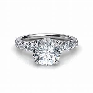 graduated side stone diamond engagement ring in 14k yellow With wedding rings round diamond