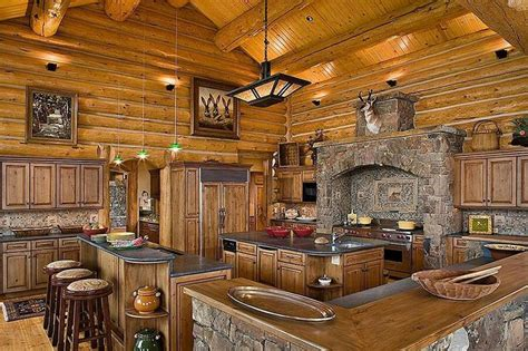 log house kitchen ideas log cabin in the woods with this large kitchen all i