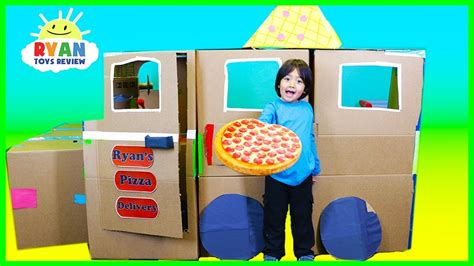 Ryan Pretend Play With Pizza Delivery Box Fort!  Phim22com