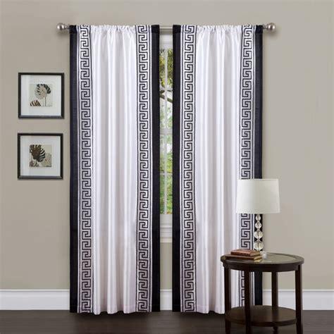 lush decor white black 84 inch metropolitan curtain panel
