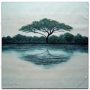 Tree Silhouette And Reflection In Water Oil Painting