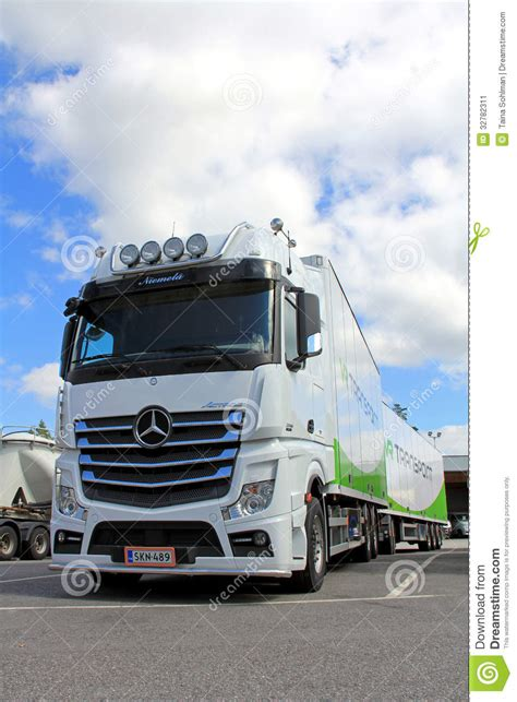mercedes truck white white mercedes benz actros truck and trailer editorial