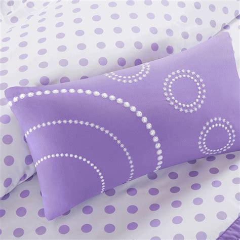purple ruffles polka dot comforter set