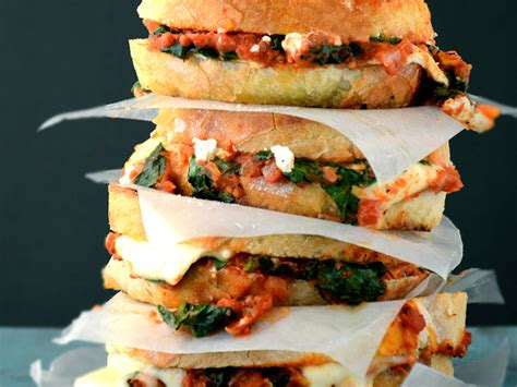 grilled cheese  spinach  tomato sauce recipe