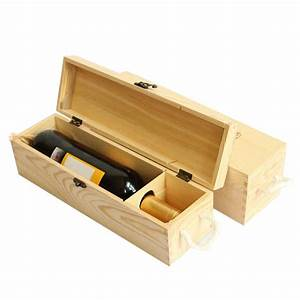 Red Wine Wooden Box For Single Bottle Customized Gift Pine