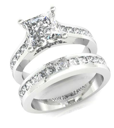 3 2ct princess cut channel set engagement ring wedding