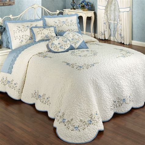 Vintage Coverlets by Vintage Charm Embroidered Quilted Bedspread Bedding