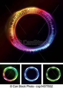 Vectors of Abstract Eyes Iris Neon Light Illustration