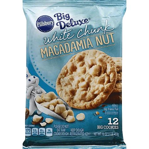If you like a sweeter cookie, add a little extra sugar.brif the dough is too crumbly add a teaspoon of water, and if still too crumbly add another teaspoon and knead it. Pillsbury™ Refrigerated Cookies White Chunk Macadamia Nut 12 ct 16.0 oz. Pack | Buehler's