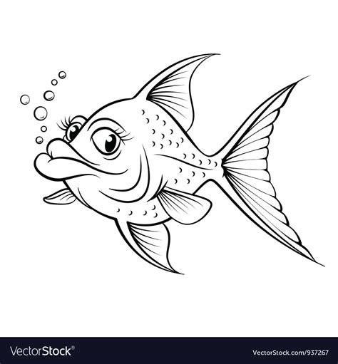 cartoon drawing fish royalty  vector image