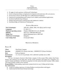 2 year experience resume format for software developer sle resume for net developer with 2 year experience resume sles