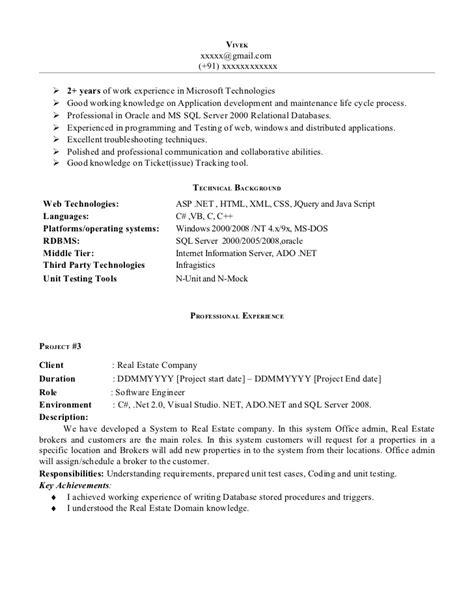 Net experience-resume-sample