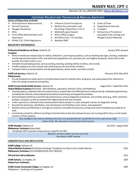 certified phlebotomist technician resume resumes design
