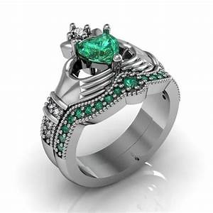 claddagh ring sterling silver emerald cz love and With claddagh engagement and wedding ring sets