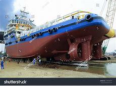 Shipyard Industry Ship Building Big Ship Stock Photo