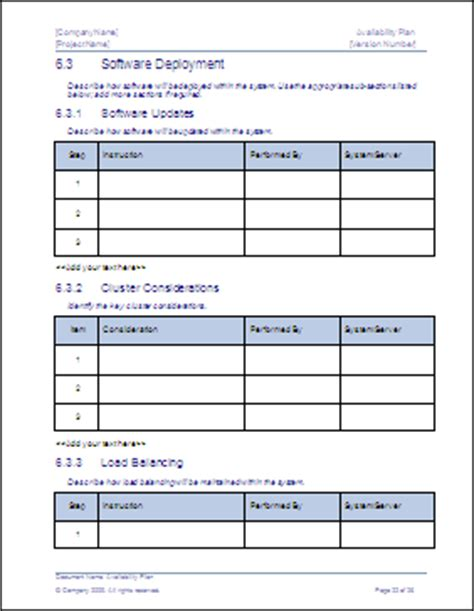 data backup plan template availability plan ms word template