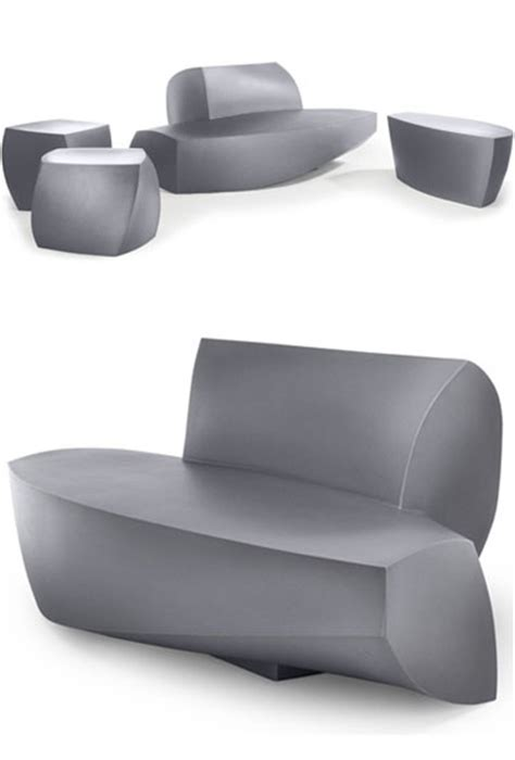 Frank Gehry Original Heller Modern Outdoor Sofa, Silver