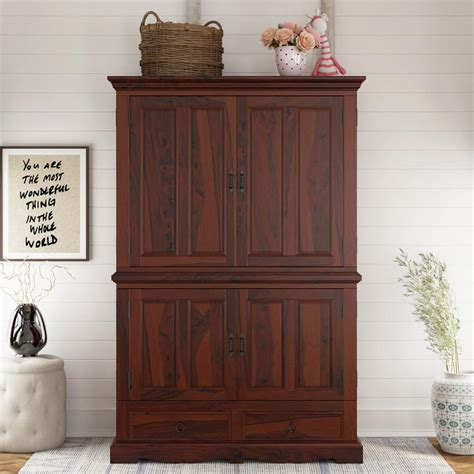 Wood Armoire by Large Solid Wood Door Media Storage Armoire