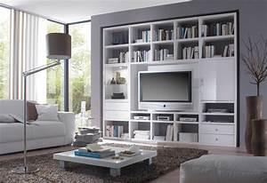 Bücherwand Mit Tv : wohnwand b cherwand lack hochglanz wei ~ Michelbontemps.com Haus und Dekorationen