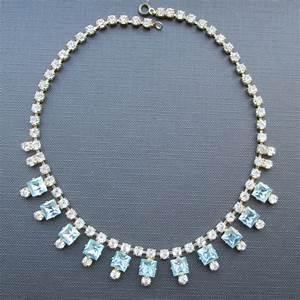Aquamarine Art Deco Style Vintage Crystal Necklace | UK