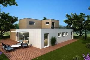 plan maison bois etage toit plat With maison en bois toit plat