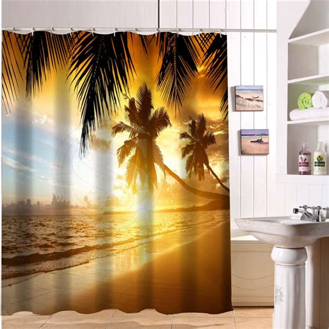 custom bath curtain beach summer ocean sky sea nature