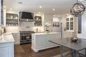 black la cornue range transitional kitchen ken gemes With best brand of paint for kitchen cabinets with full wall art wallpaper