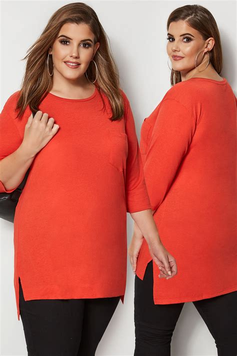 Orange Top With Chest Pocket Plus Size 16 To 36