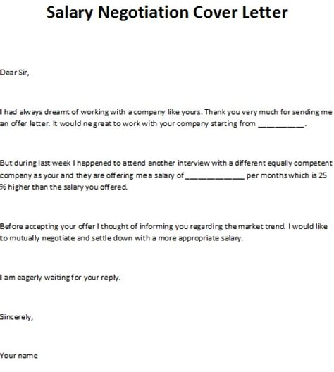letter of negotiation of salary salary negotiation cover letter