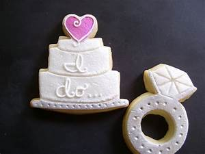 engagement ring and wedding cake cookies With wedding ring cake