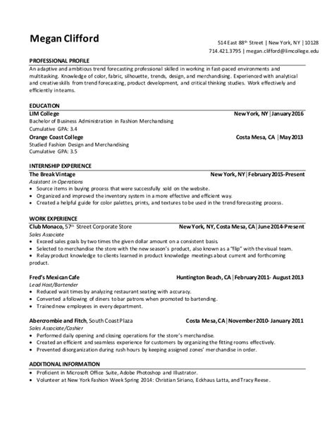 Fast Paced Environment Resume by Senior Co Megan Resume New Co Op