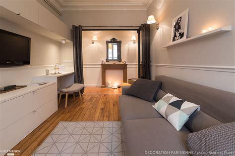 salon en longueur avec canape gris cosy  meuble sur
