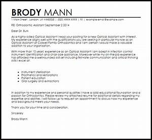 orthodontic assistant cover letter sample livecareer With cover letter for optical assistant