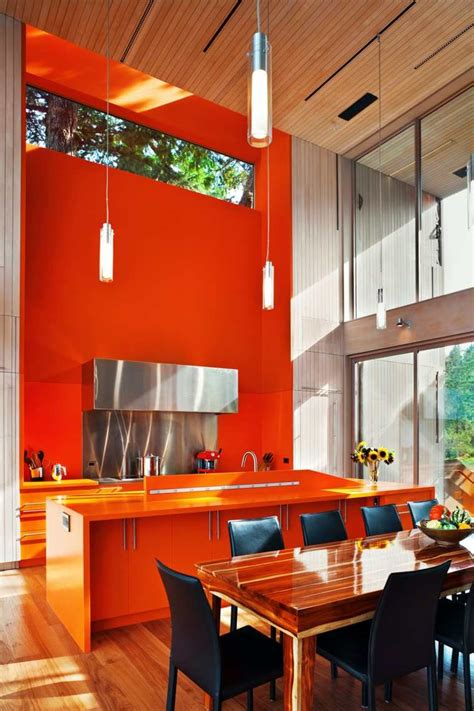 cuisine couleur orange peinture salon moderne orange