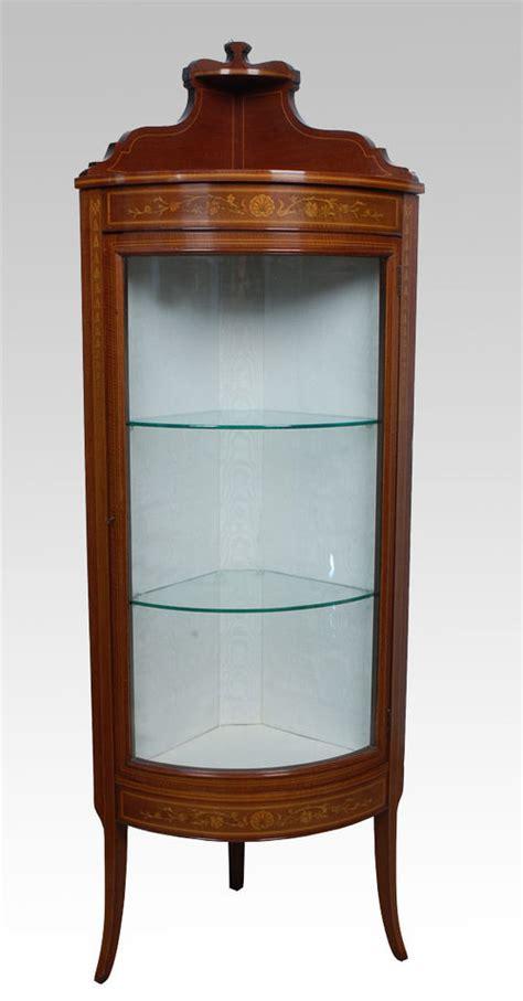 mahogany corner display cabinet mahogany bowed corner display cabinet antiques 7319
