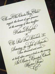 wedding invitation designed in hand calligraphy With copperplate calligraphy wedding invitations
